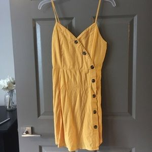 American eagle yellow button dress